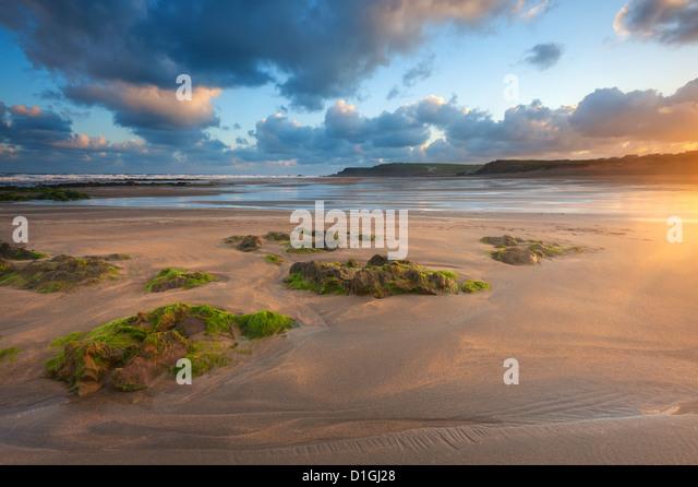 Early morning, Widemouth Bay, Cornwall, England, United Kingdom, Europe - Stock Image