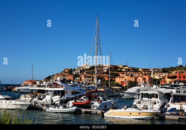 Italy Sardinia Costa Smeralda Porto Cervo Yachting Port - Stock Image