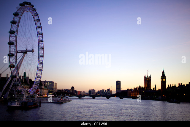 London eye, big ben and the houses of parliament at twilight - Stock-Bilder