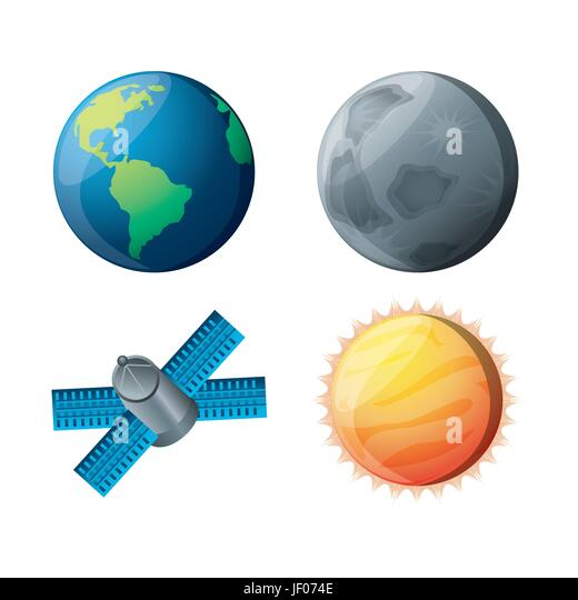 set planets with natural and technology satellites - Stock Image