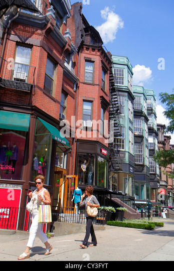 Boston Massachusetts Back Bay Newbury Street high-end luxury name-brand shopping woman - Stock Image