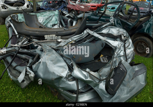 Car Wreckage Glasgow - Stock Image