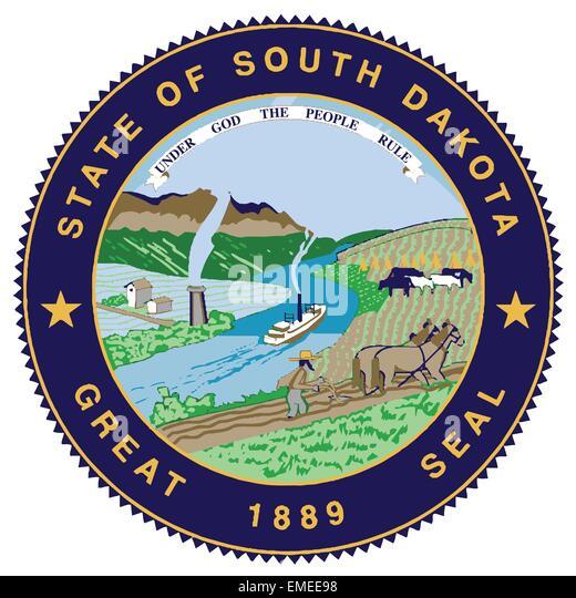 Great Seal of South Dakota - Stock Image