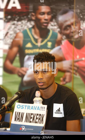 Sprinter Wayde van Niekerk (South Africa) attends the press conference prior to the Golden Spike Ostrava athletic - Stock-Bilder