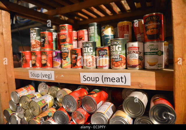 St Mary's Mission, Lambeth Road, London, UK. 9th December 2014. Food stored ready to be given to those in need - Stock Image