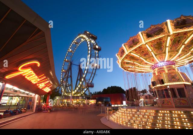 Giant Ferris Wheel, Prata Amusement Park, Vienna, Austria - Stock Image