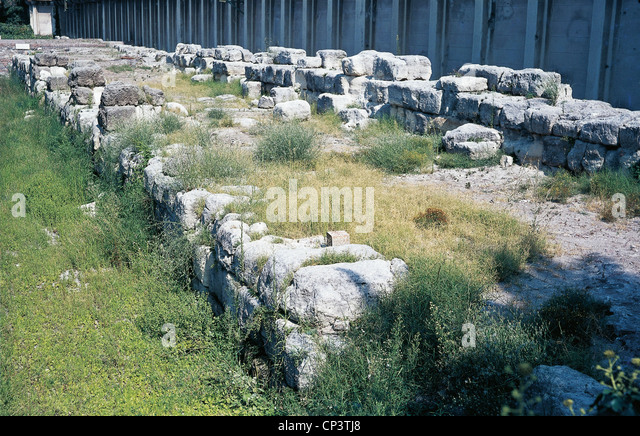 Calabria - Reggio Calabria - parts of the walls of the ancient Rhegion. - Stock Image