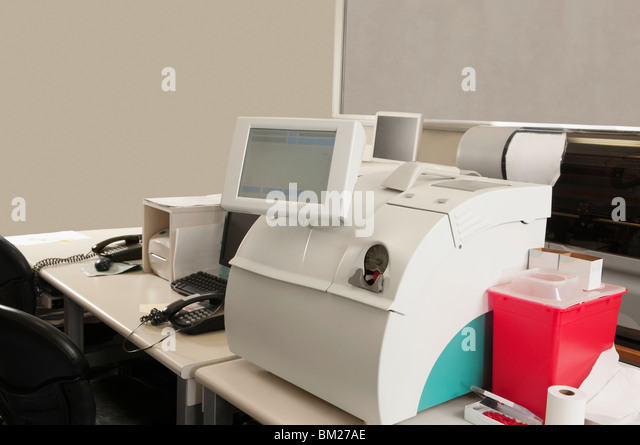 Close-up of a blood gas analyzer - Stock Image