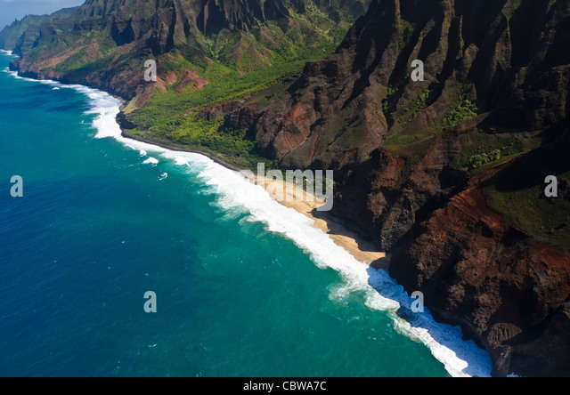 The Na Pali coast from the sky, Kauai Island, Hawaii, USA - Stock Image
