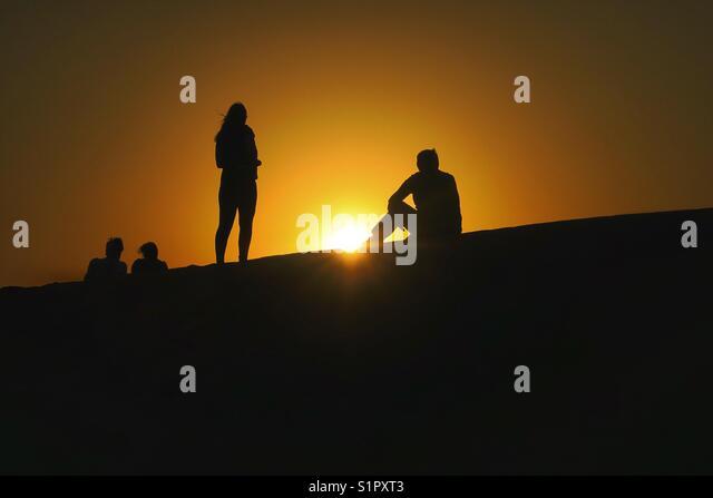 Desert sunset, Dubai - Stock Image