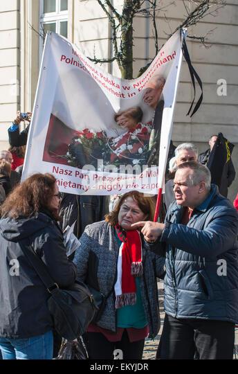 Warsaw, Poland - April 10, 2015: Smolensk Crash Anniversary - Stock Image