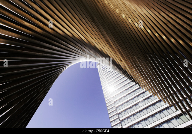 DZ Bank Tower, SELMI- city skyscraper, 142 metres high, creative, urban, Platz der Republik, Frankfurt am Main, - Stock Image