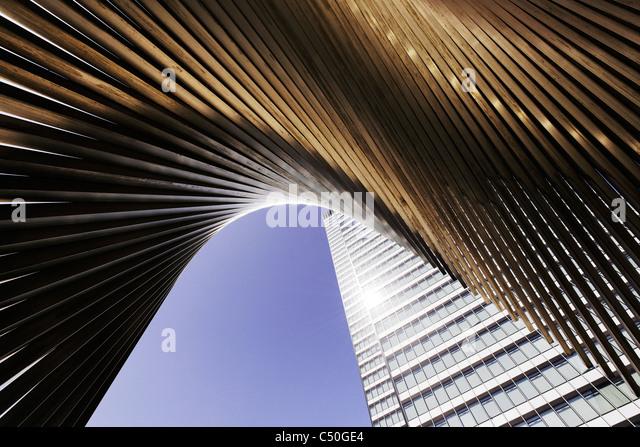 DZ Bank Tower, SELMI- city skyscraper, 142 metres high, creative, urban, Platz der Republik, Frankfurt am Main, - Stock Image