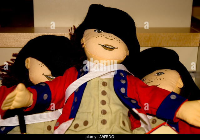 Virginia Historic Jamestowne Jamestown landing gift store dolls colonial america souvenirs - Stock Image