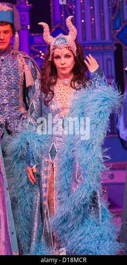 Priscilla Presley stars as the 'Wicked Queen' in the Snow White and the Seven Dwarfs panto at the New Wimbledon - Stock Image