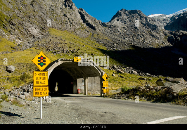 The eastern entrance to the Holmer Tunnel, on the Milford Sound road, Fjordland, South Island, New Zealand - Stock Image