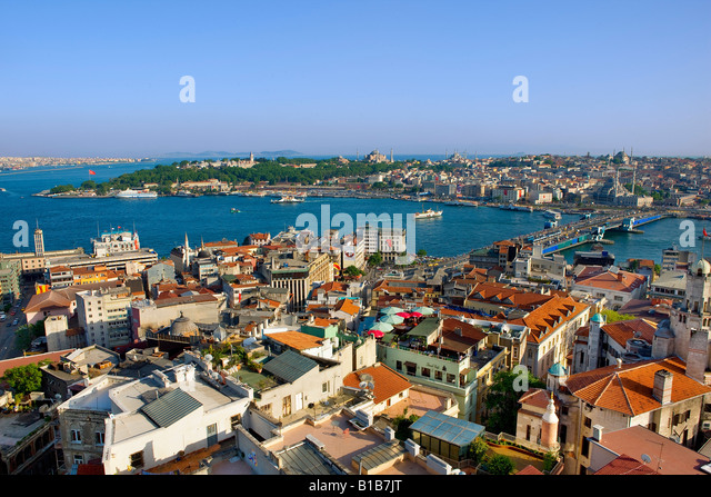 Istanbul skyline view from galata tower - Stock Image