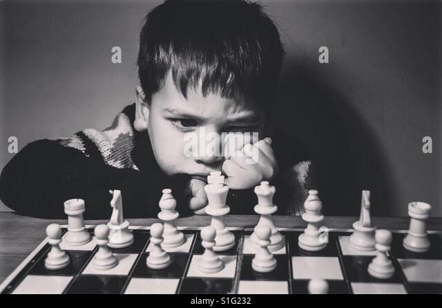 First game of chess - Stock-Bilder