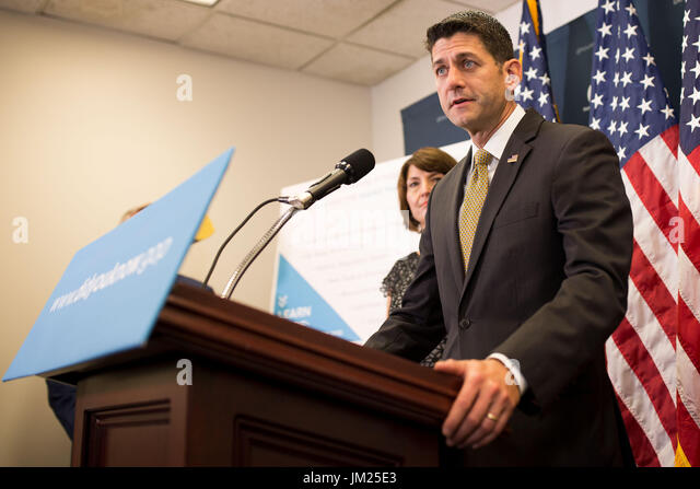 Washington, USA. 25th July, 2017. U.S. House Speaker Paul Ryan (Front) speaks at a press conference on Capitol Hill - Stock Image