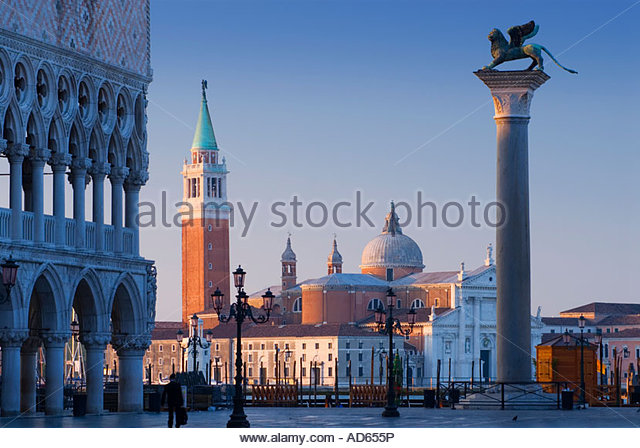 The Cathedral of San Giorgio Maggiore and the winged lion of St. Mark from St Mark's Square, Venice, Italy - Stock Image