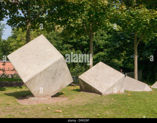 Concrete Cubes as Urban Artwork in Nottingham, United Kingdom. - Stock Image