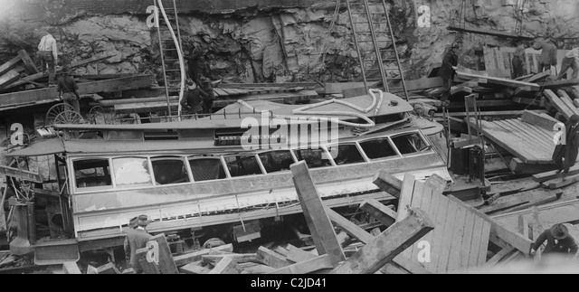 New York Subway Cave-in with demolished trolley or train - Stock Image