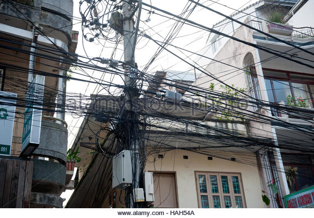 Dalat Vietnam A mass of overhead cables. - Stock Image