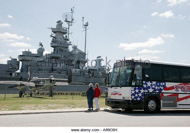 Alabama Mobile USS Alabama Battleship Memorial Park military exhibits tour bus - Stock Image