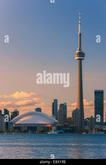Famous Toronto Skyline with the CN Tower and Rogers Centre taken from the Toronto Islands. - Stock Image