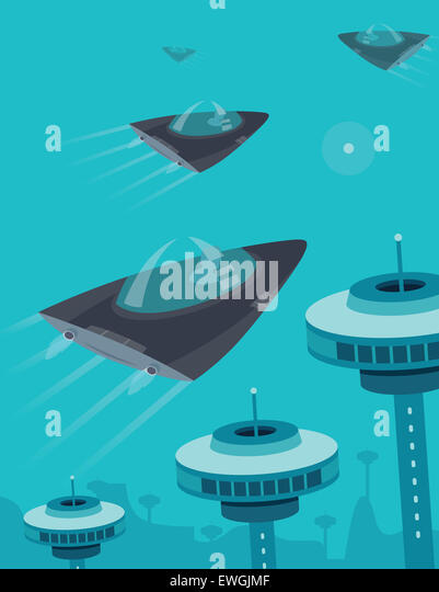 Spaceship flying in space over communication towers - Stock Image