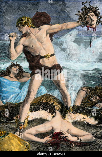 Perseus cutting off Medusa's snake-haired head, in Greek mythology. - Stock Image