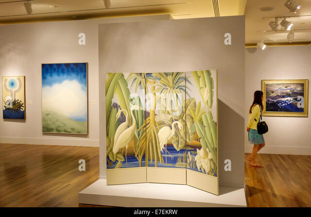 Hawaii Hawaiian Honolulu Museum of Art inside interior paintings gallery - Stock Image