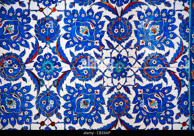 Wall tile in Rüstem Pasha Mosque or Rustempasa Camii. Istanbul, Turkey. - Stock Image