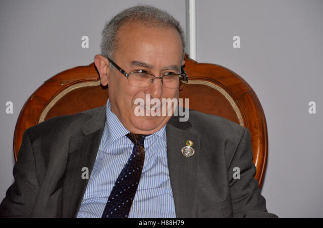 Minister of Foreign Affairs of Algeria, Ramtane Lamamra during the meeting - Stock Image