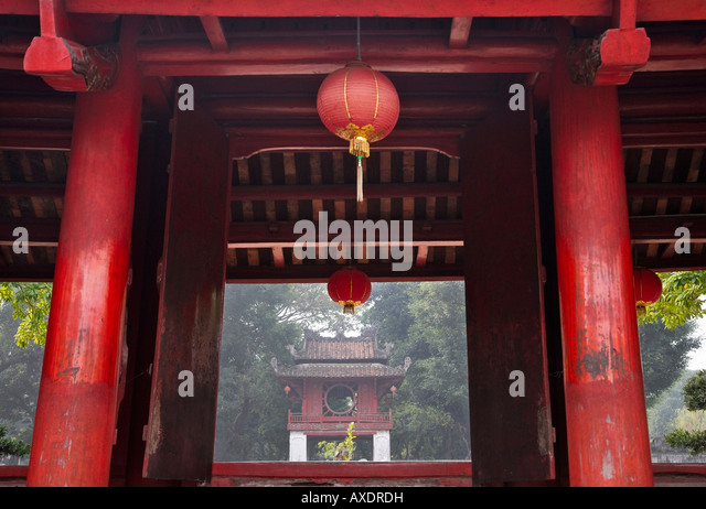 Traditional architecture in Literature Temple Hanoi Vietnam - Stock Image