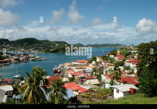 GRENADA Caribbean St Georges Harbour Overview above from an unusual angle with lots of color - Stock Image