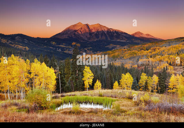East Beckwith Mountain at sunrise near Kebler Pass in West Elk Mountains, Colorado, USA - Stock Image
