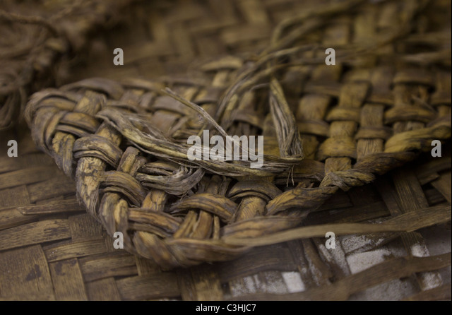 Salado Culture sandals weaved from yucca leaves at Besh-Ba-Gowah Archaeological Park in Globe, Arizona, USA. - Stock Image