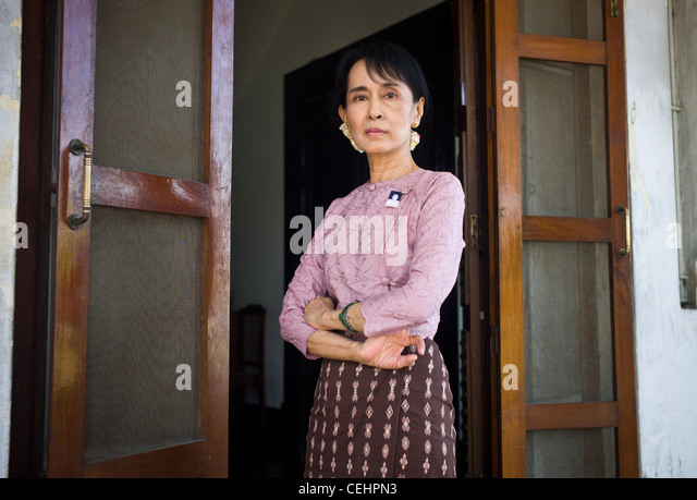Aung San Suu Kyi, the leader of Burma's opposition party the National League for Democracy (NLD) at home in - Stock-Bilder