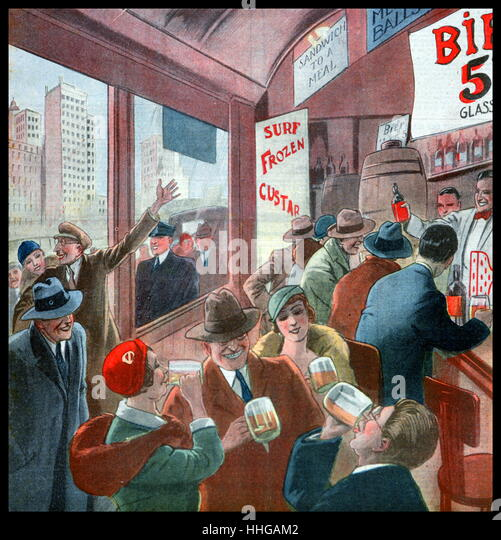 French magazine illustration, showing the end of prohibition in the USA, with people celebrating by drinking in - Stock Image