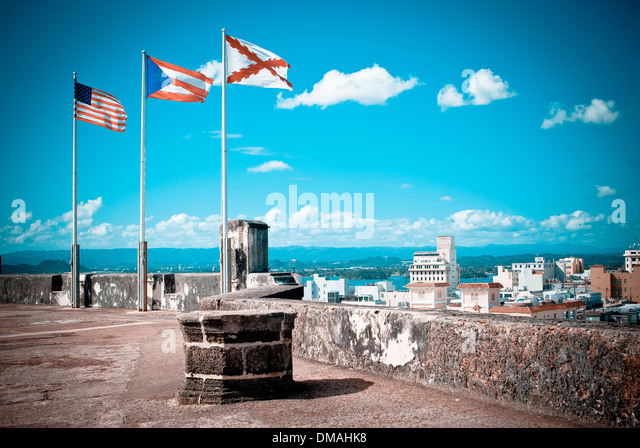 Flags on top of the fortress in Old San Juan. - Stock Image
