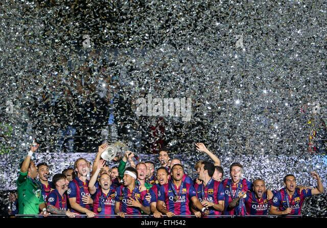 Beijing, Germany. 6th June, 2015. Players of FC Barcelona celebrate after the UEFA Champions League final match - Stock-Bilder