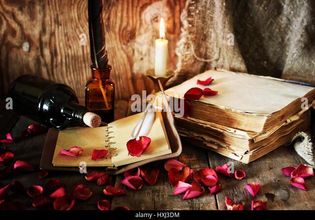 book pen candle romance - Stock-Bilder