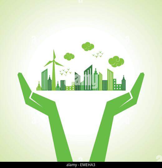 Save nature concept with hands - Stock-Bilder
