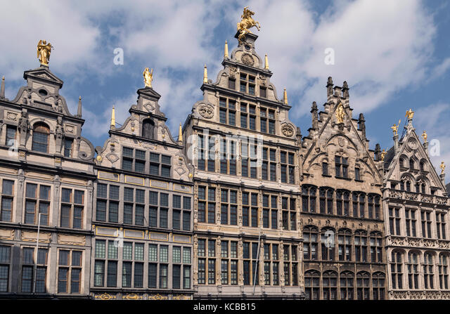 The 16th century Guildhouses at the Grote Markt in the city of Antwerp in Belgium. - Stock Image