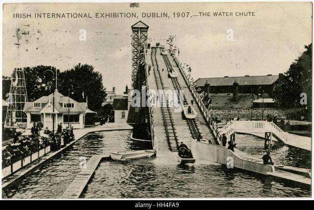 Irish (Dublin) International Exhibition - The Water Chute ride. - Stock Image