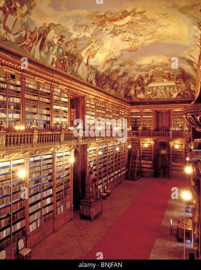Czech Republic Prague Abundance Abundant Art Arts Book Bookcase Bookcases Books Culture Europe Fresco Frescoes Heritage - Stock Image