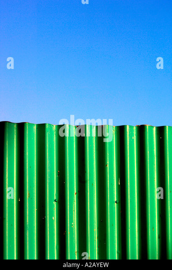 Corrugated Fence,Acting As A Wall & A Barrier. - Stock Image