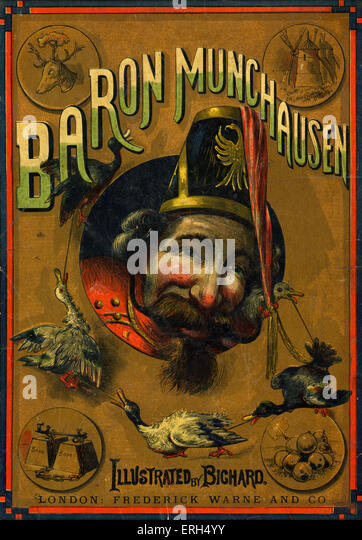 'The Adventures of Baron Munchausen' illlustrated by Alphonse Adolphe Bichard (b. 1841). Based on the life - Stock Image