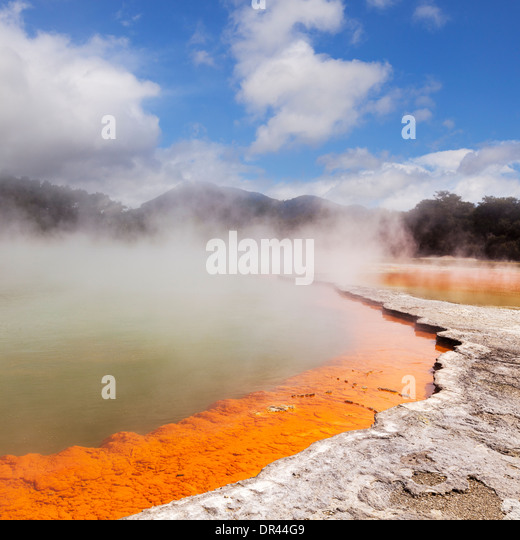 Steaming water at the Champagne Pool, Waiotapu Thermal Reserve, Rotorua, New Zealand. - Stock Image